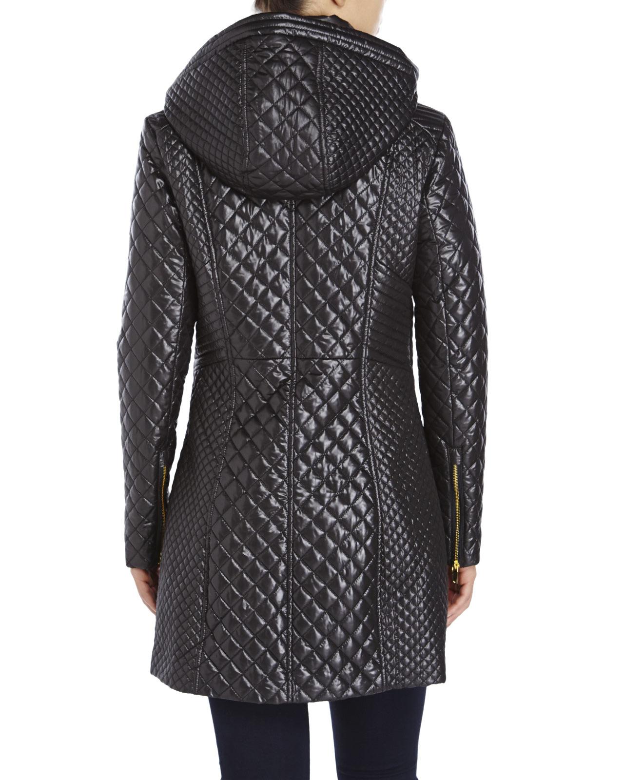 Via Spiga Quilted Zip Front Jacket In Black Lyst