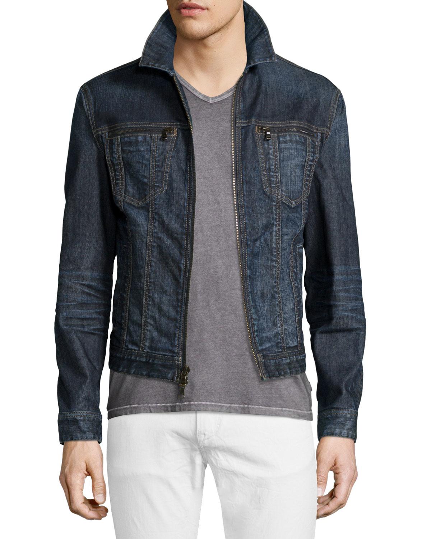 Lyst John Varvatos Zip Front Denim Jacket In Blue For Men