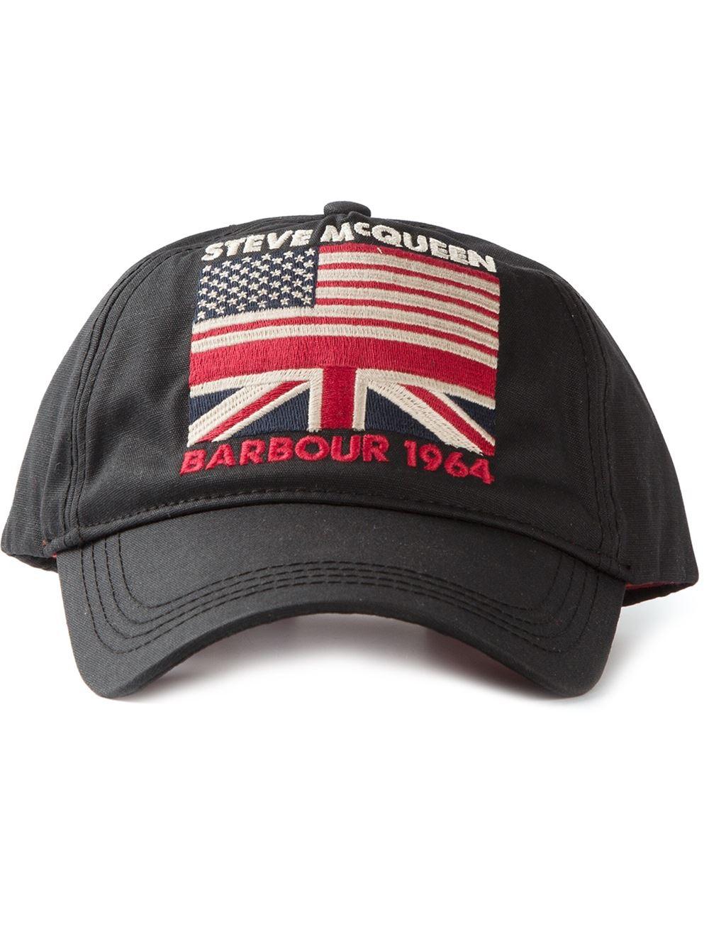 32fcd2bb13225 Barbour Steve Mcqueen Usa Flag Cap in Black for Men - Lyst