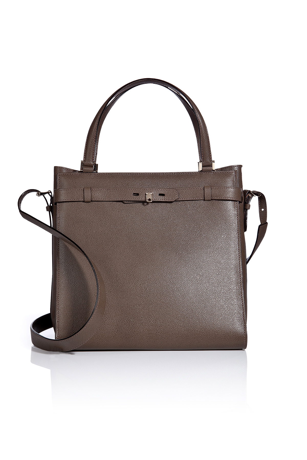 B Cube lyst - valextra leather large b-cube handbag in gray