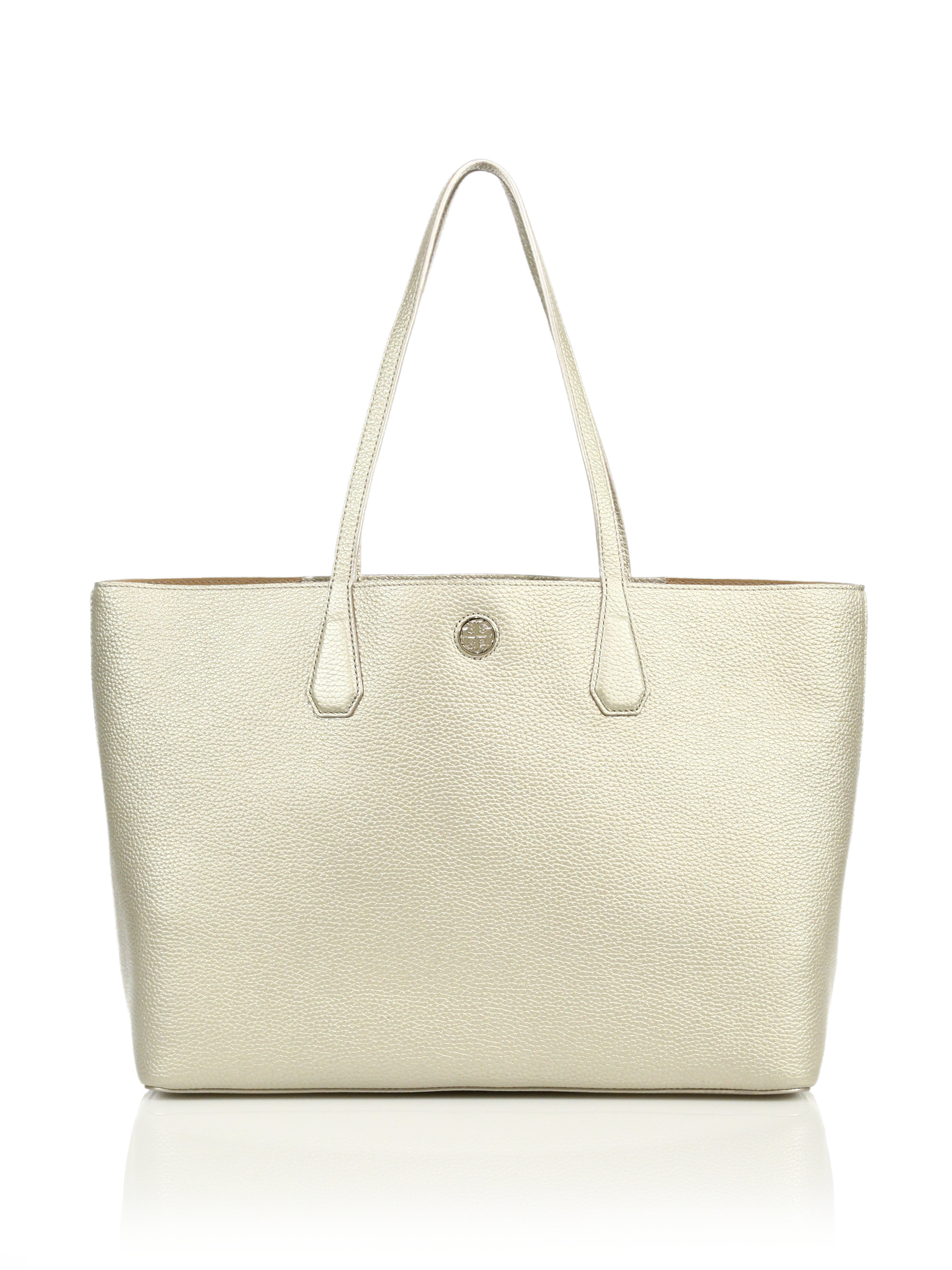 02af1208a24a ... official store lyst tory burch perry metallic leather tote in metallic  88ef1 31b35