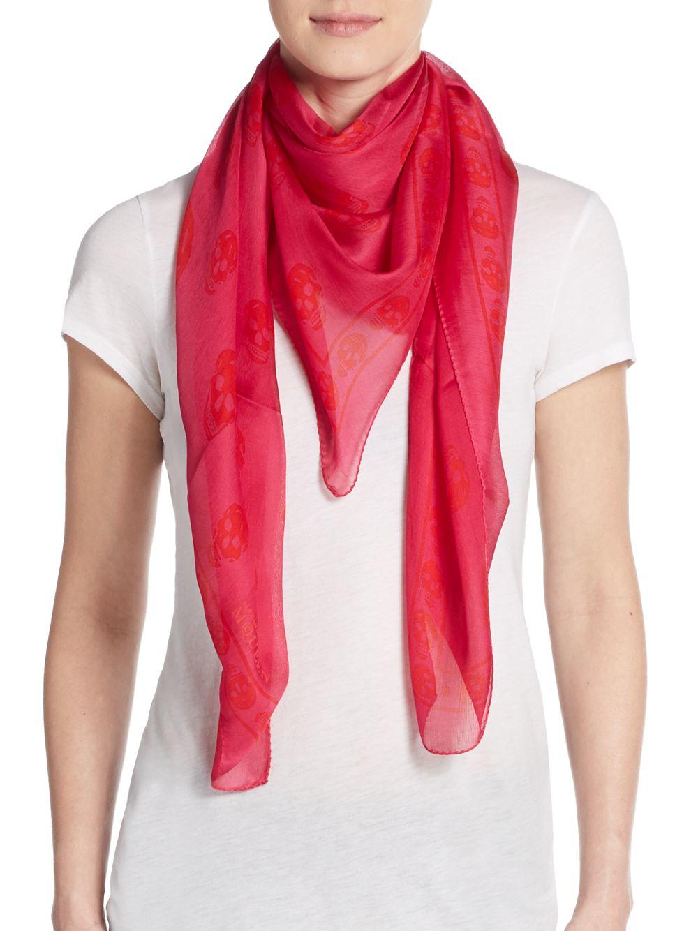 mcqueen tonal skull print silk scarf in lyst