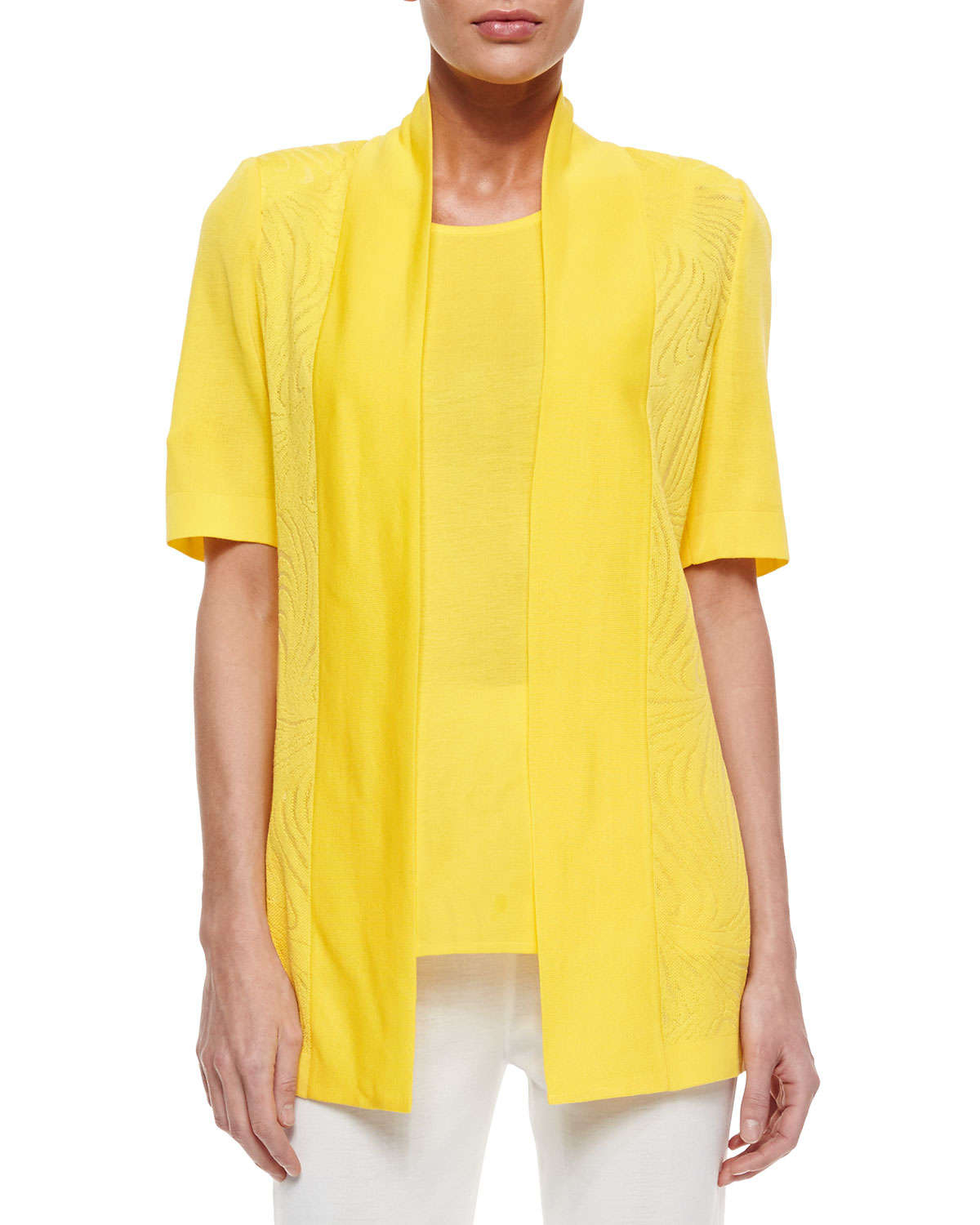 Misook Short-Sleeve Graphic Lines Cardigan in Yellow   Lyst