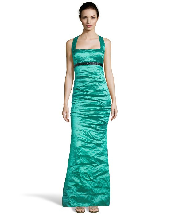 Lyst - Nicole Miller Green Ruched Techno Metal Sleeveless Evening ...