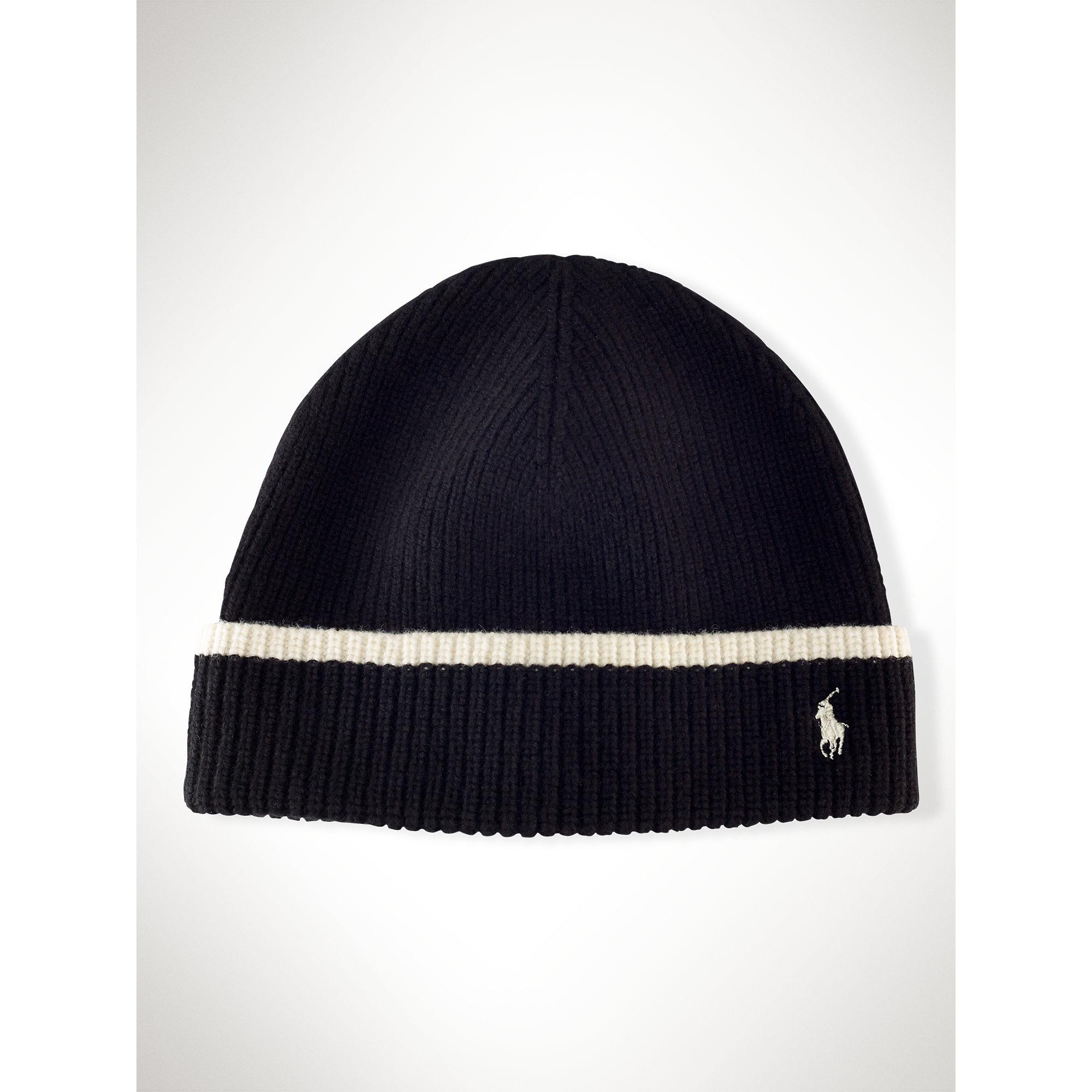 3ede800129f Lyst - Polo Ralph Lauren Merino Wool Hat in Black