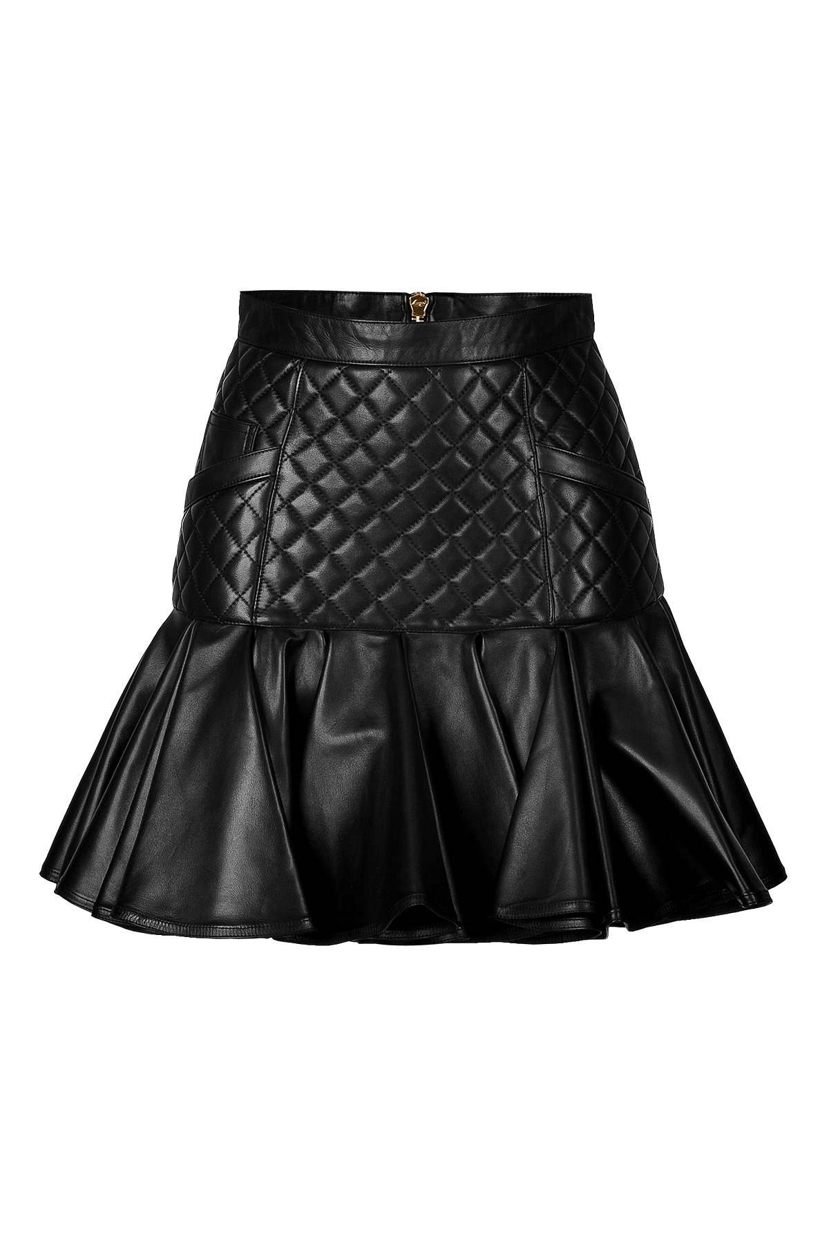 balmain leather quilted skirt with flared hem in black lyst