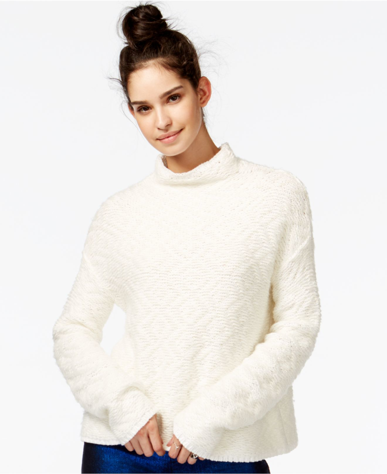 Rachel rachel roy Printed Mock-turtleneck Sweater in Natural | Lyst