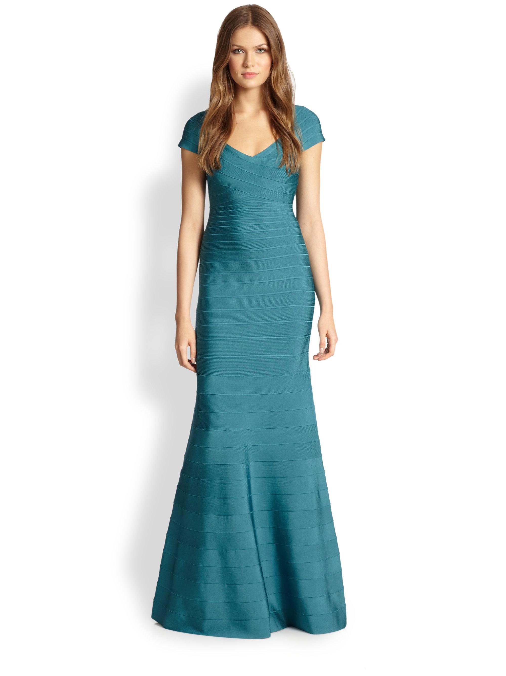 67922ab7668bc Hervé Léger Cap-Sleeve Bandage Mermaid Gown in Blue - Lyst