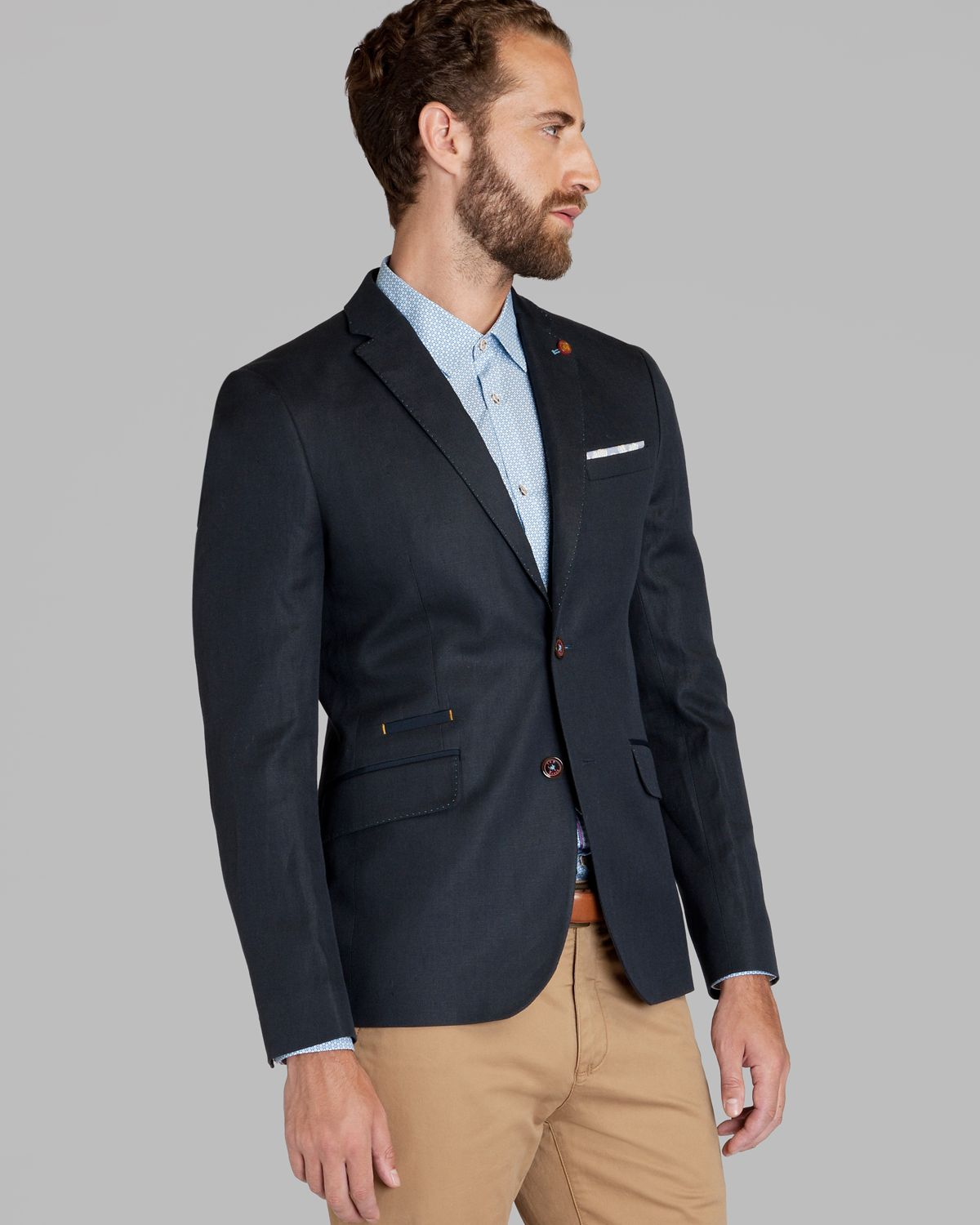 Ted baker Dainy Linen Blazer in Blue for Men | Lyst