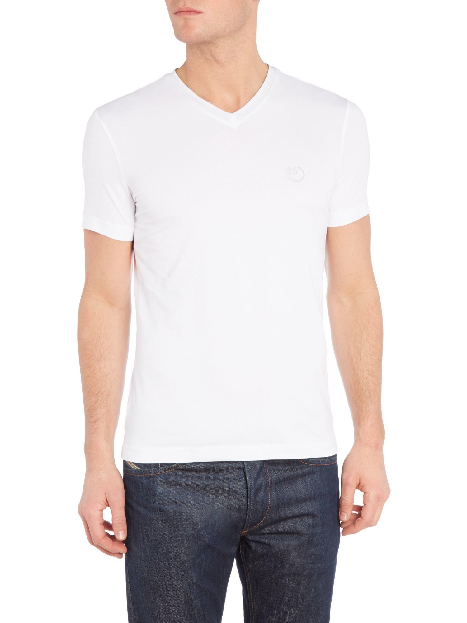 Armani v neck logo t shirt in white for men lyst for White v neck shirt mens
