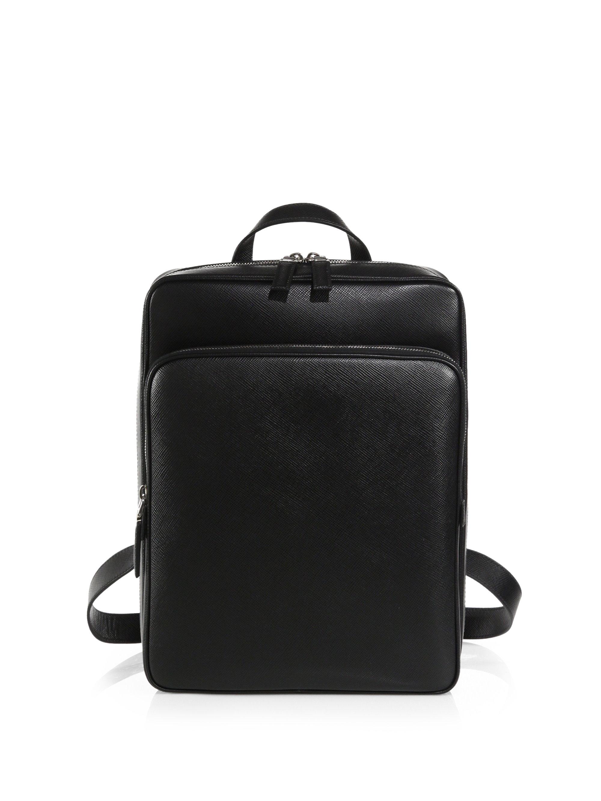 Prada Saffiano Cuir Backpack in Black for Men | Lyst