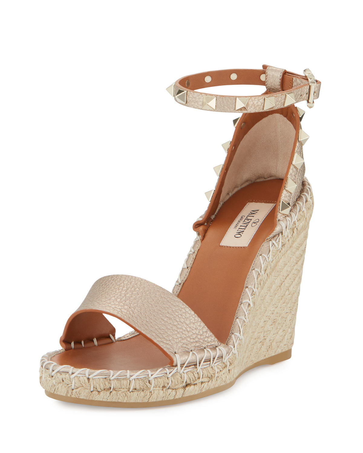 5f7dbfade8e2 Valentino Wedge Sandals. Valentino Studded Espadrille Wedge Sandals in Blue