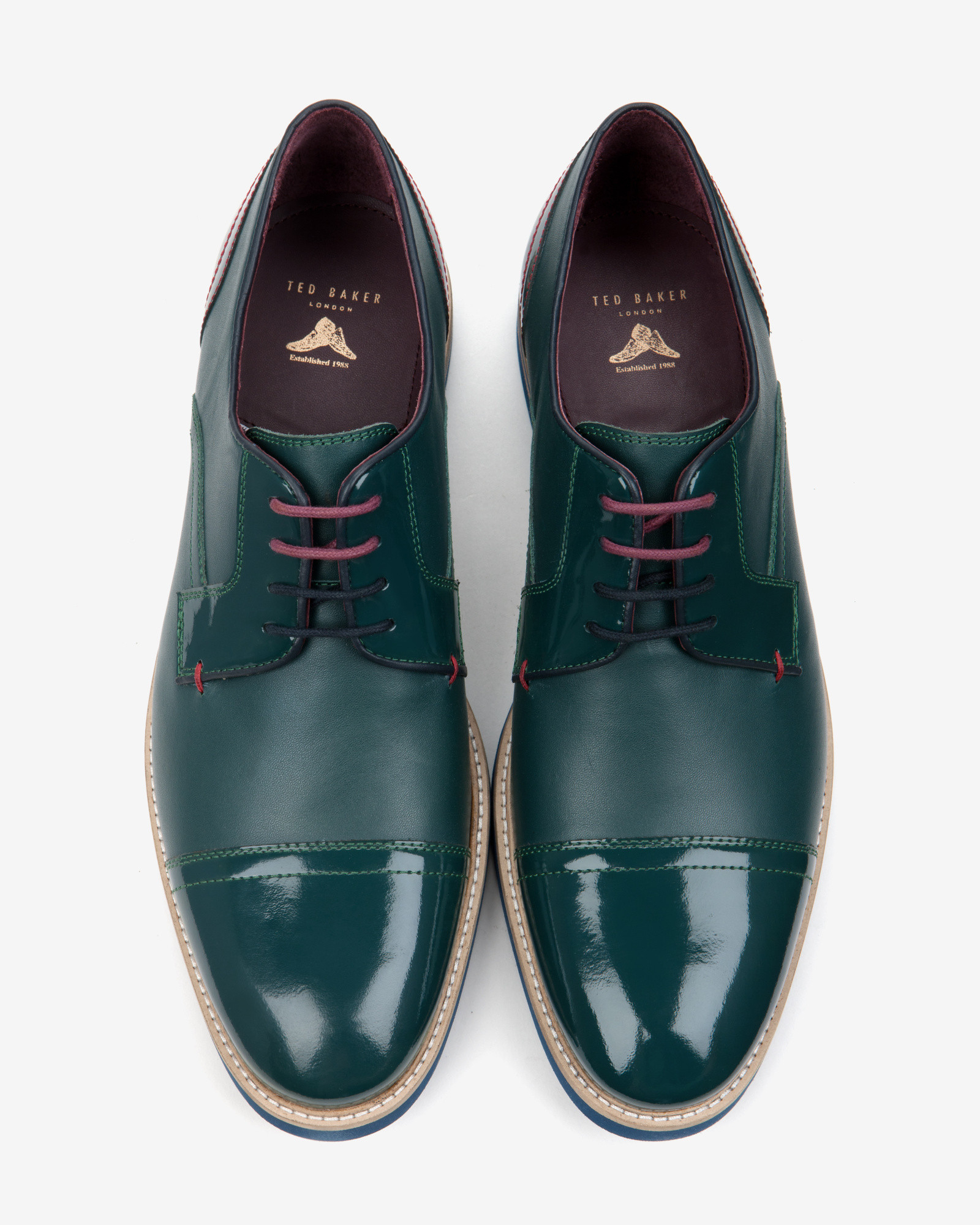 0216a129e Ted Baker Textured Derby Shoes in Green for Men - Lyst