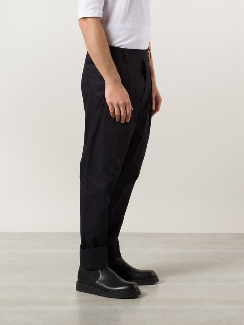 Lemaire Front Pleat Tapered Trousers in Blue for Men | Lyst