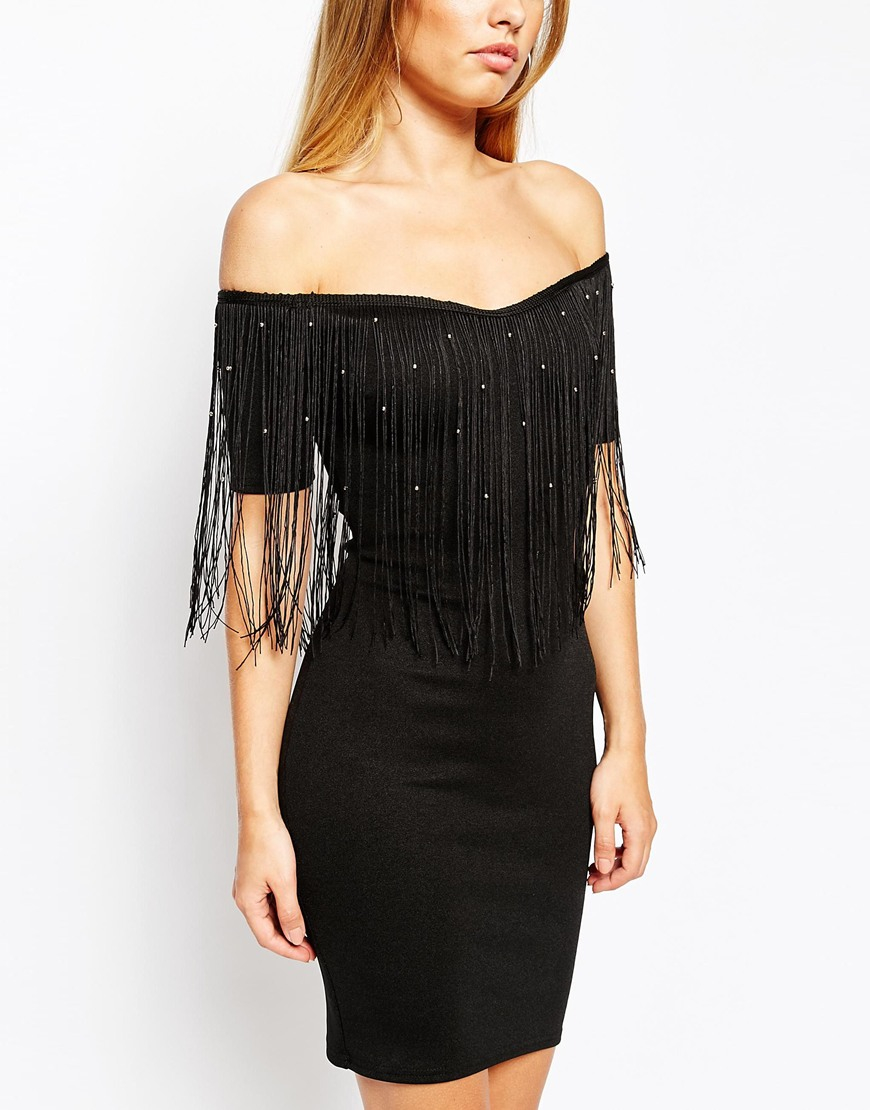 Lyst Oh My Love Off Shoulder Fringe Mini Dress With