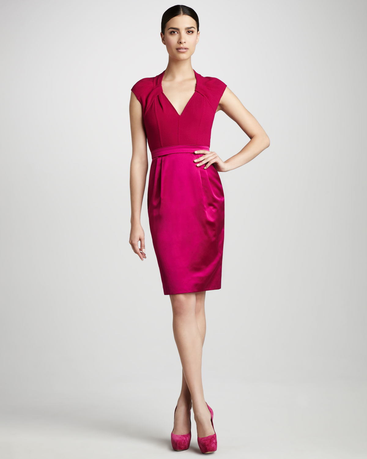 Carmen marc valvo Cap-sleeve Cocktail Dress in Pink | Lyst