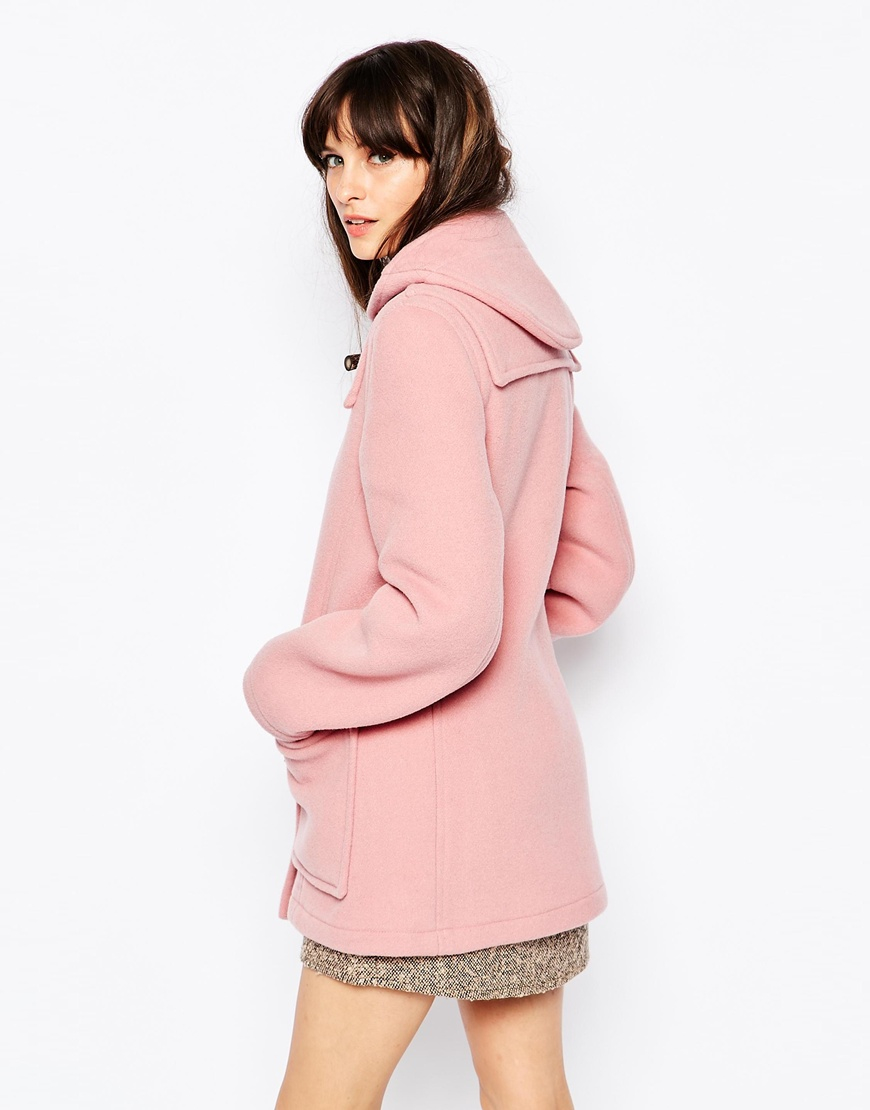 Gloverall Fitted Duffle Coat In Pale Pink in Pink | Lyst