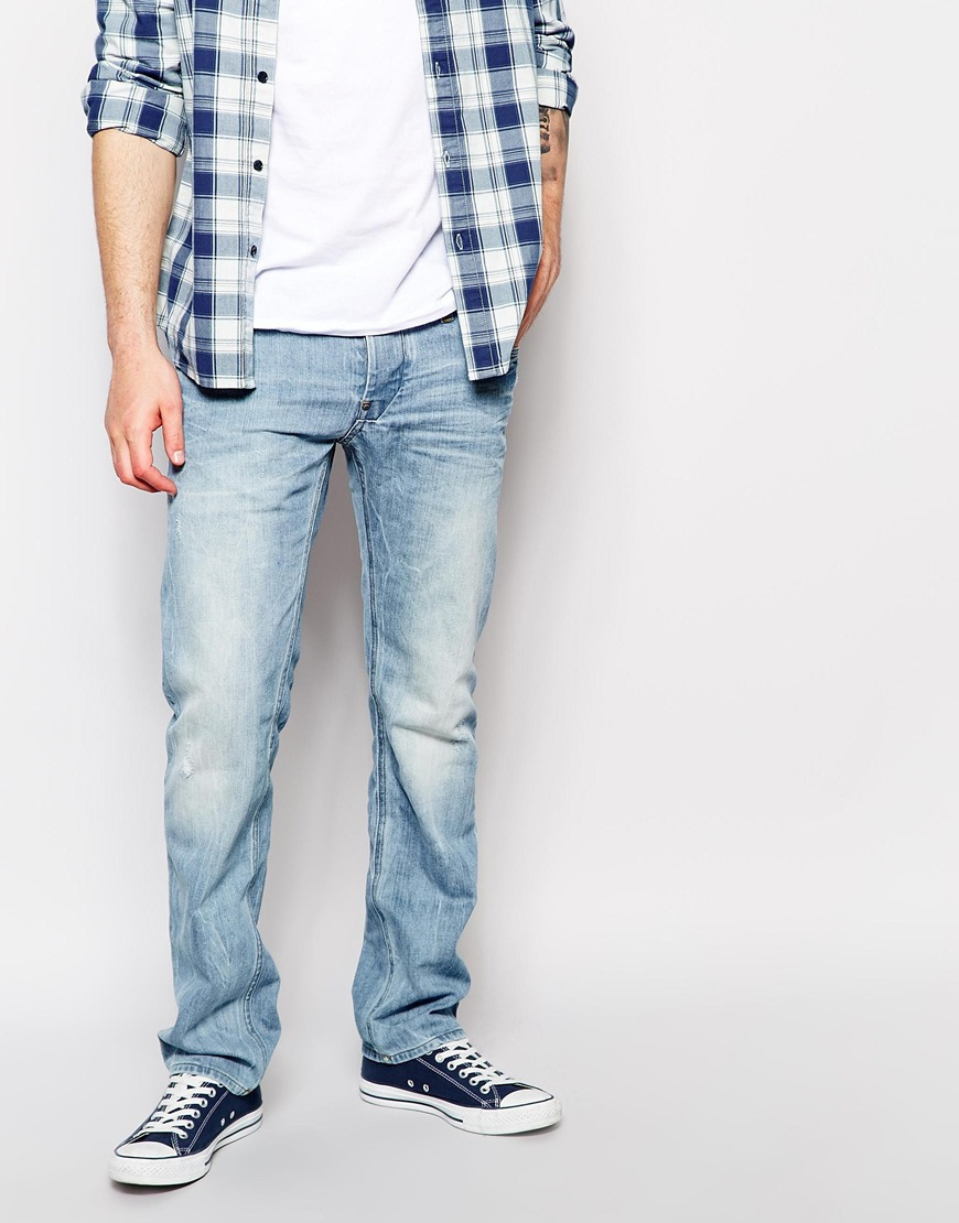 g star raw g star jeans attacc low straight fit light aged. Black Bedroom Furniture Sets. Home Design Ideas