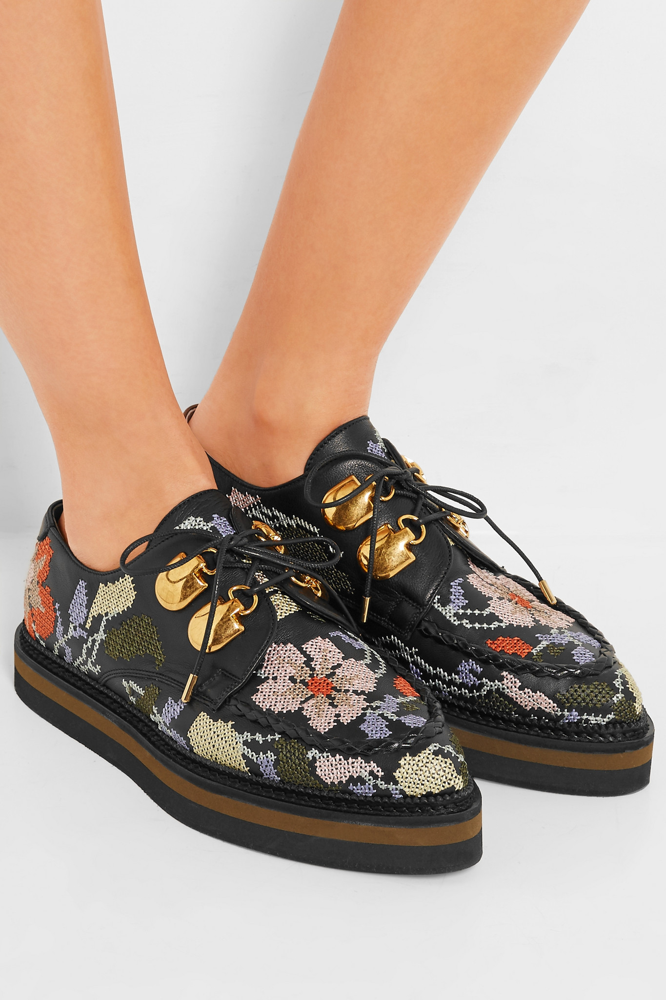 original cheap online shop offer for sale Alexander McQueen 2016 Leather Embroidered Oxfords 100% original cheap price 2HhfiqVXY