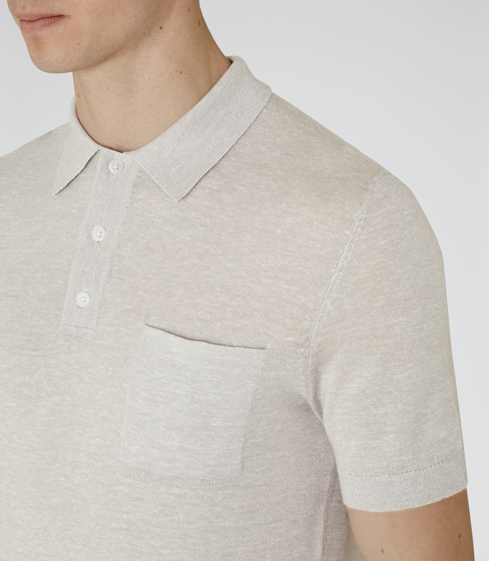 Lyst Reiss Hendrick Wool And Linen Polo Shirt In White For Men