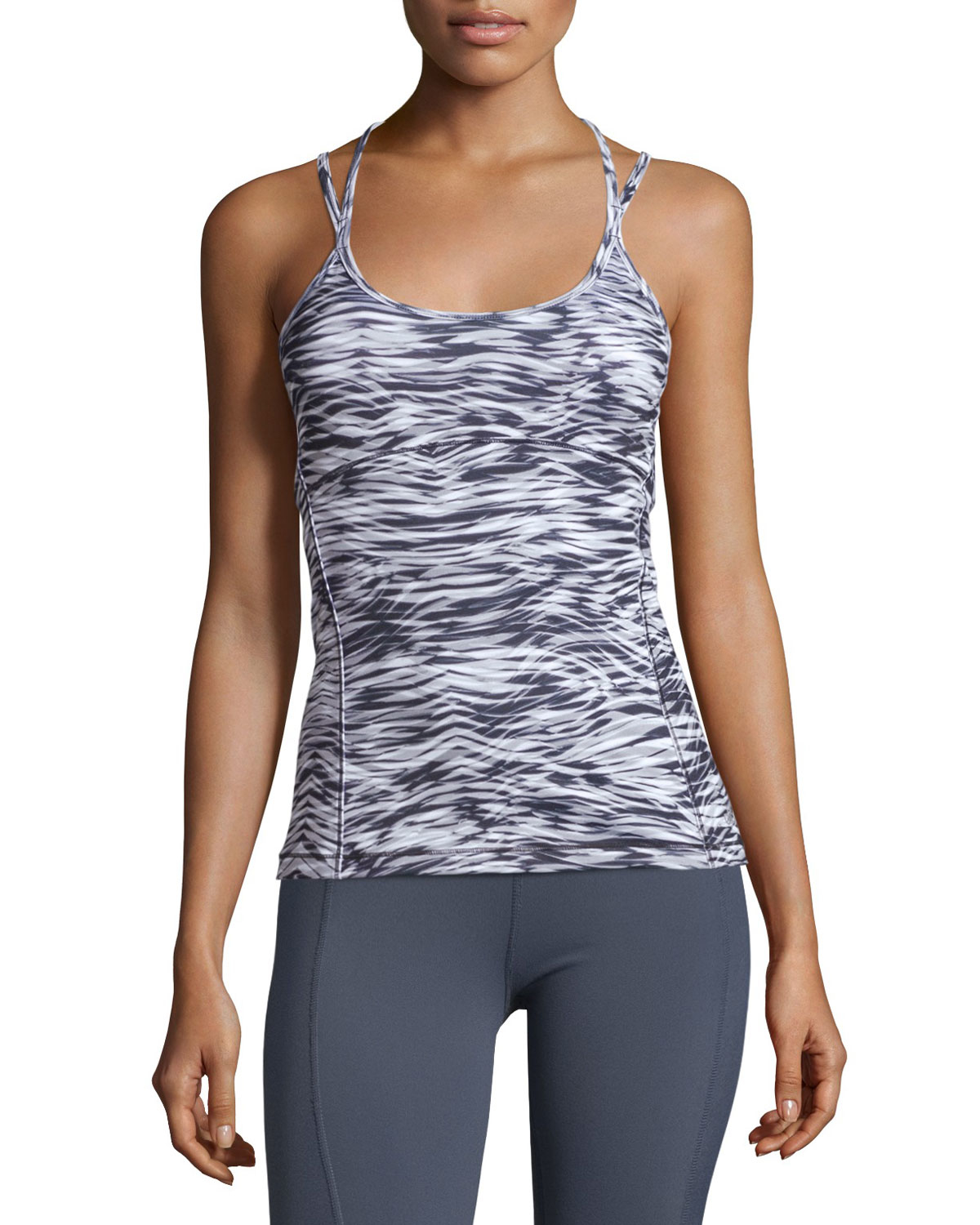 fd298cb323 Lyst - Alo Yoga Ananda Long Bra Tank in Gray