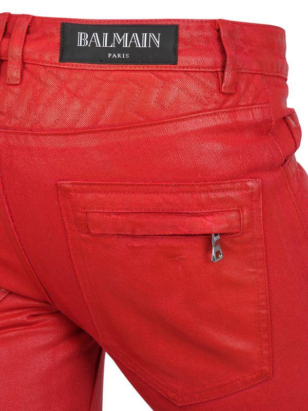 Balmain 18cm Geometric Waxed Denim Biker Jeans in Red for Men | Lyst