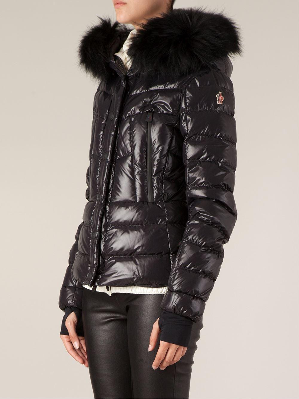 moncler black fur hooded jacket