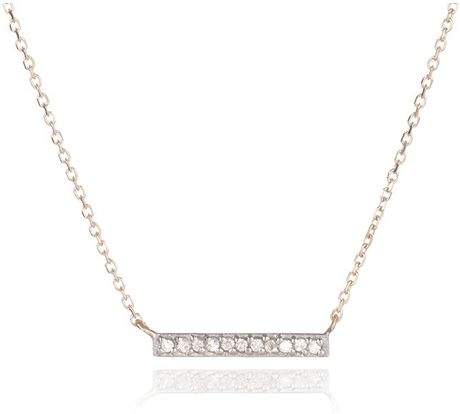 Adina reyter pave bar necklace in silver rose gold lyst