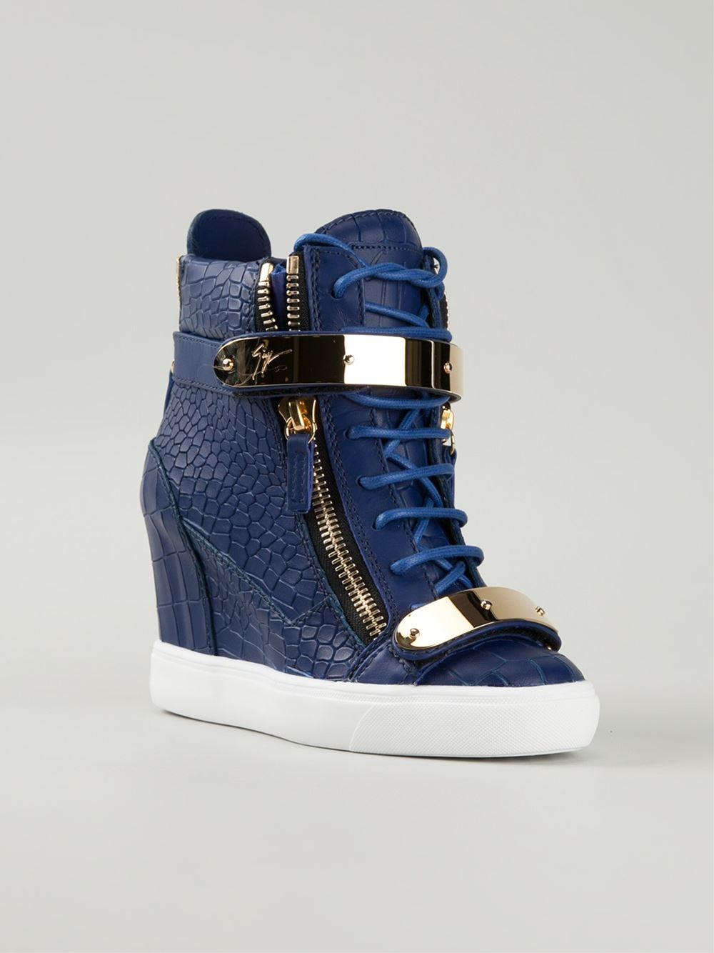 Giuseppe zanotti Wedge Hi-top Sneakers in Blue | Lyst