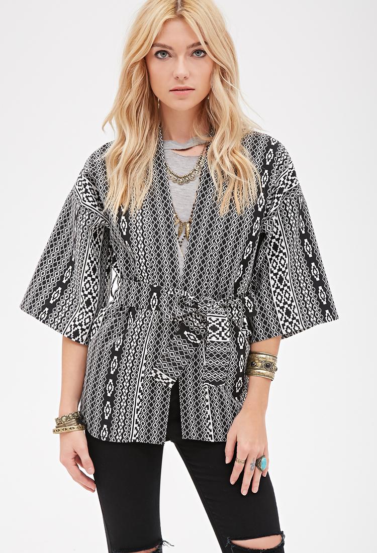 Forever 21 Southwestern-patterned Kimono in Black (BLACK ...