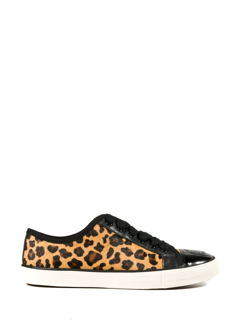 tory burch leopard print sneakers lyst. Black Bedroom Furniture Sets. Home Design Ideas