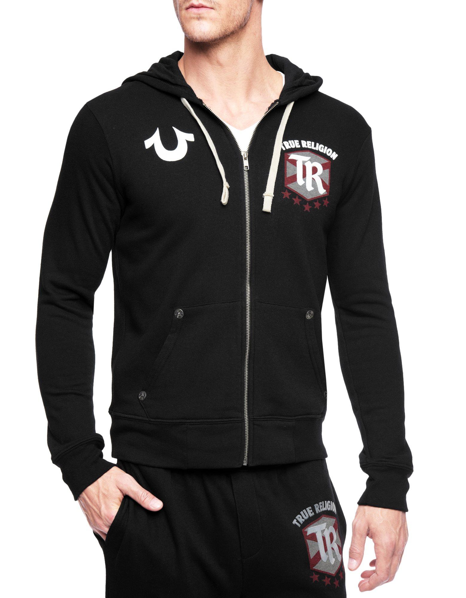 true religion footballer hoodie in metallic for men lyst. Black Bedroom Furniture Sets. Home Design Ideas