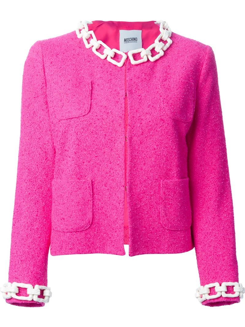 Lyst - Boutique moschino Chain Trim Bouclé Jacket in Pink