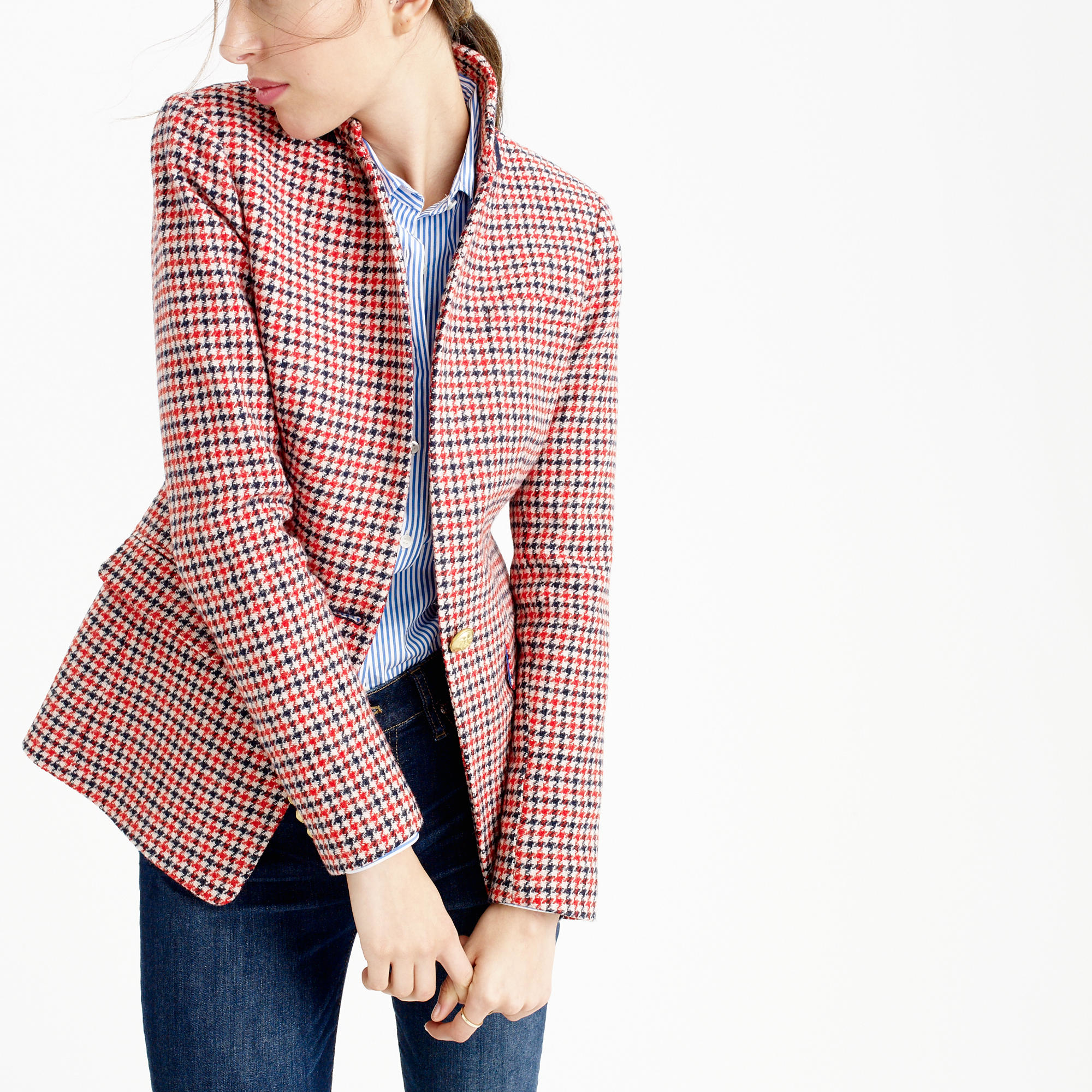Lyst j crew regent blazer in red houndstooth plaid in red for Jcrew com