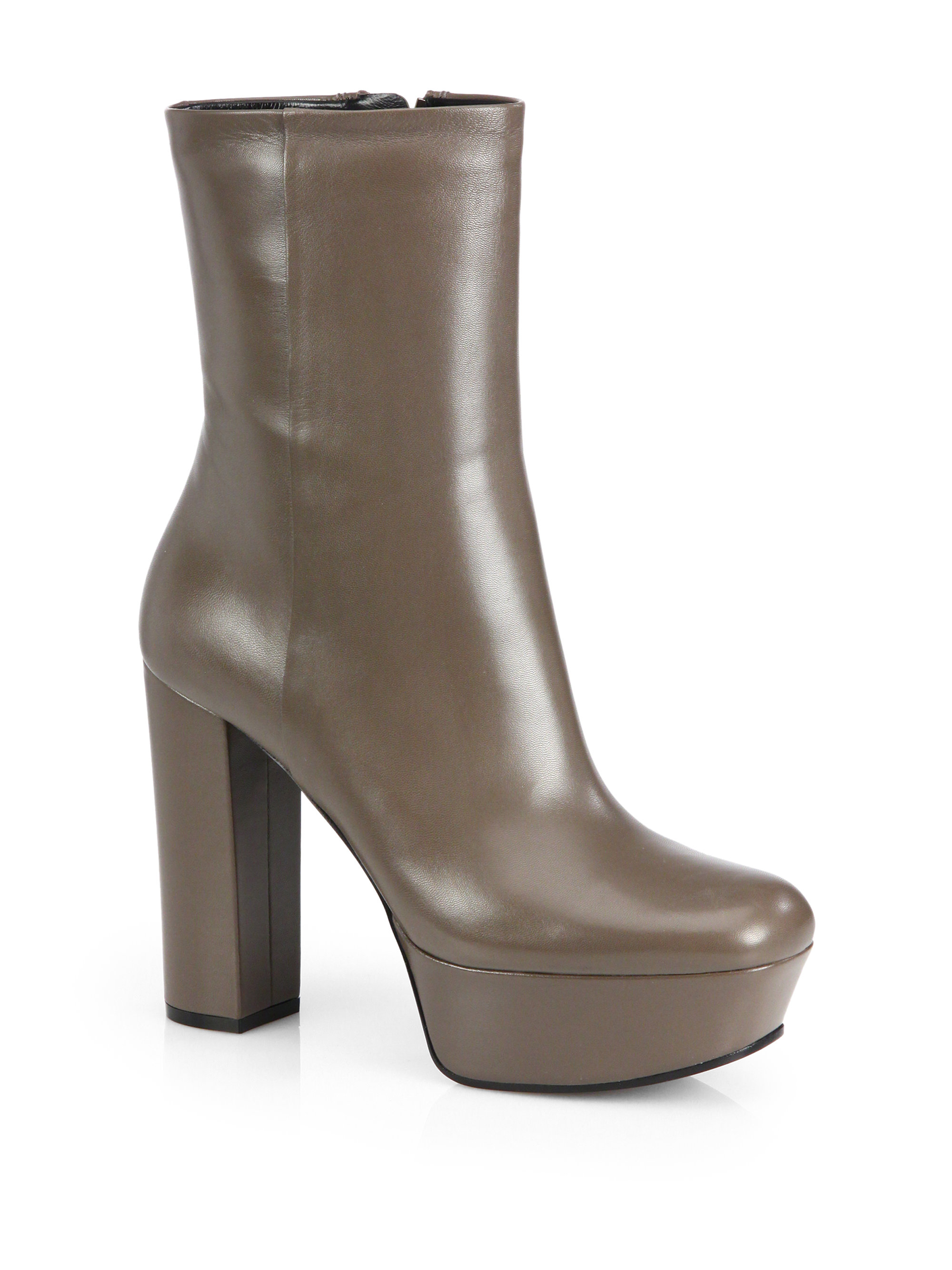 933b7365b Gucci Leather Platform Ankle Boots in Gray - Lyst