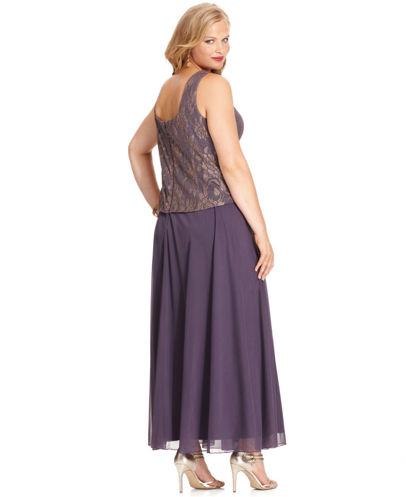 4883e84486c23 Lyst - Patra Plus Metallic Lace Dress And Jacket in Purple