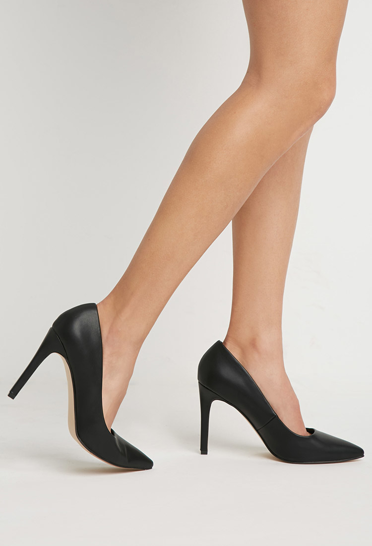 forever 21 faux leather pointed pumps in black lyst. Black Bedroom Furniture Sets. Home Design Ideas