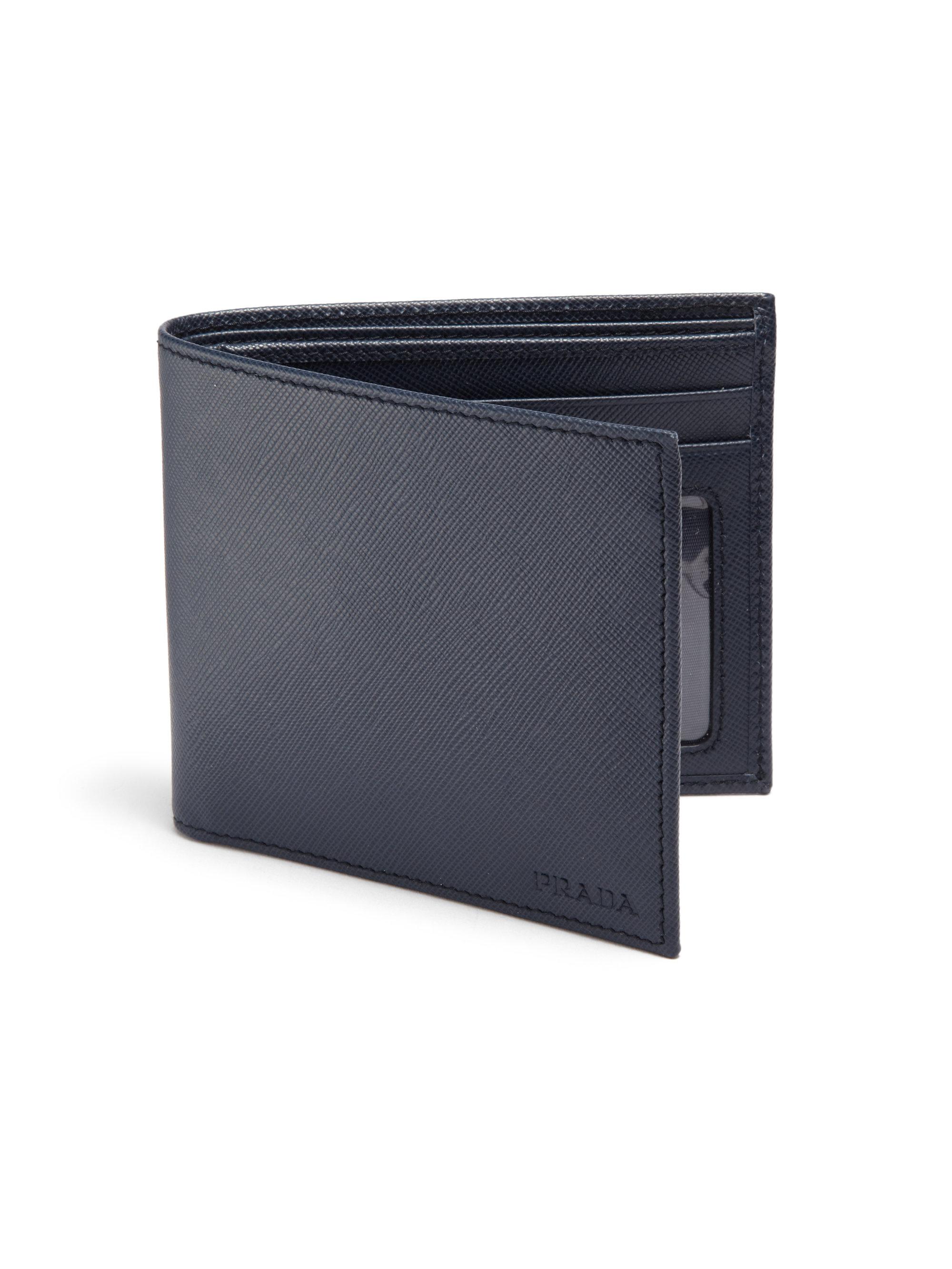 9ae0b8f56b1f Prada Saffiano Leather Billfold Wallet in Black for Men - Lyst