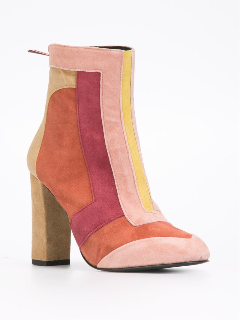 just cavalli color blocked suede ankle boots in pink lyst