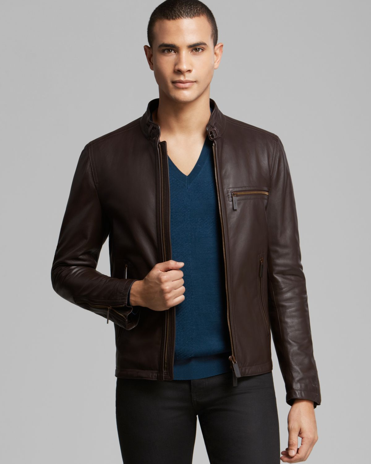 Burberry London Lockwood Leather Jacket in Brown for Men | Lyst