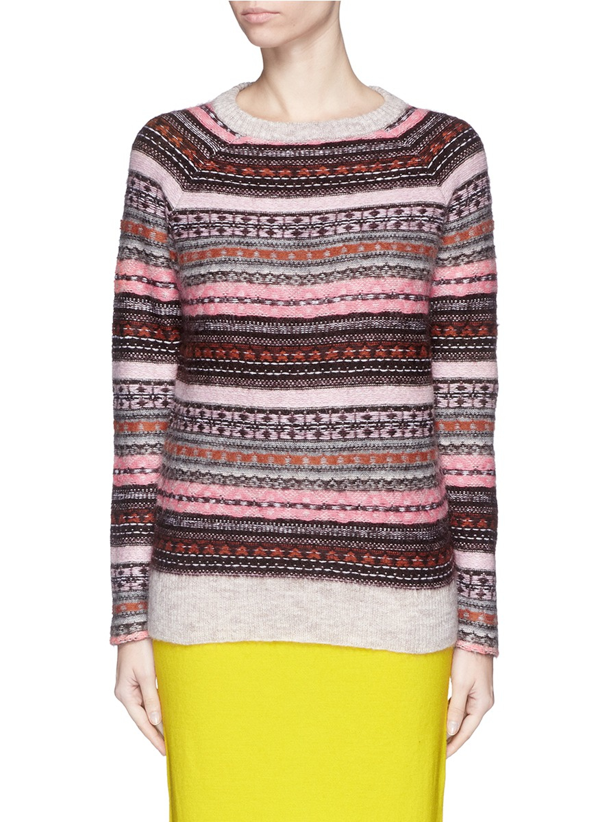 J.crew Fair Isle Sweater in Purple | Lyst