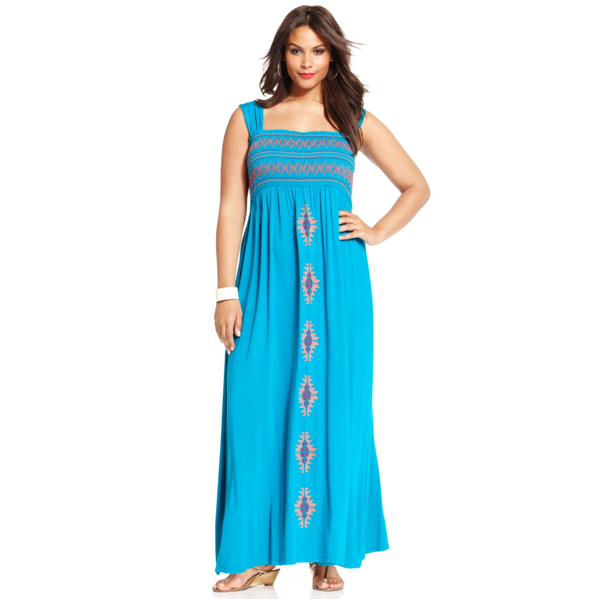 Spense Plus Size Embroidered Smocked Maxi Dress in Blue | Lyst