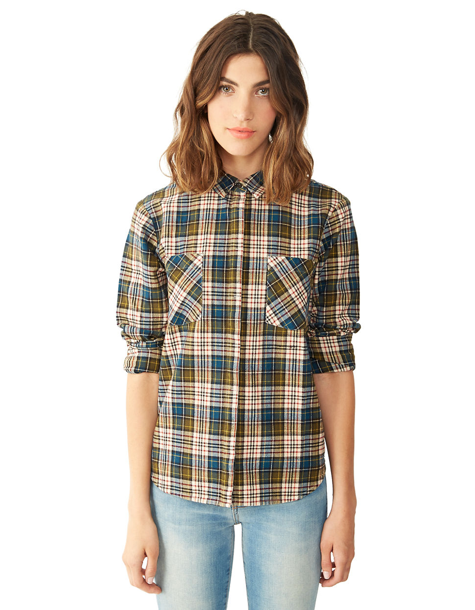 Lyst alternative apparel flannel button up shirt for men for Button up flannel shirts
