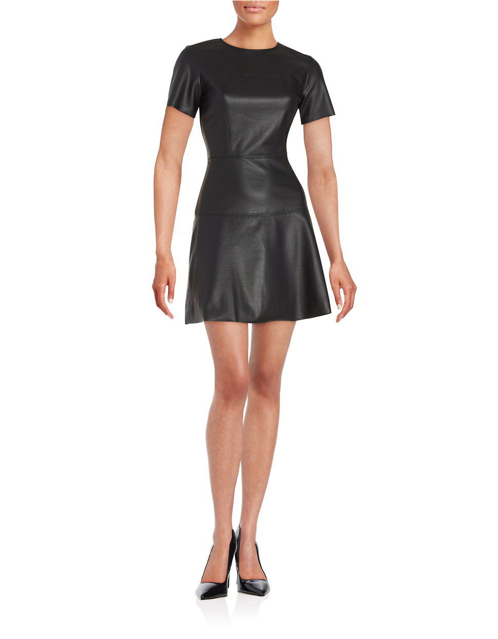 Lyst - Lord & Taylor Faux Leather Fit-and Flare Dress in Black