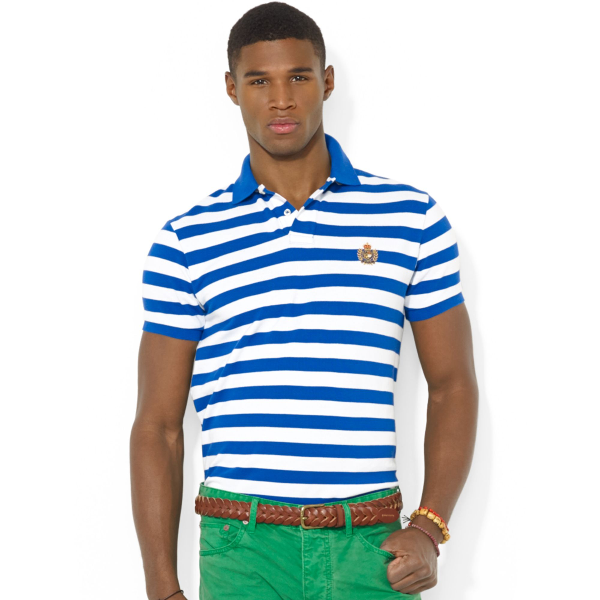 9c1c3f7d581 Polo ralph lauren Polo Classicfit Heritage Crest Striped Mesh Polo in Blue  for Men | Lyst