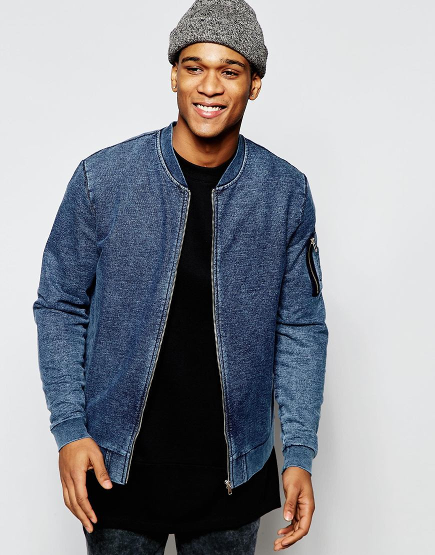 Asos Jersey Ma1 Bomber Jacket In Denim Wash in Blue for Men | Lyst