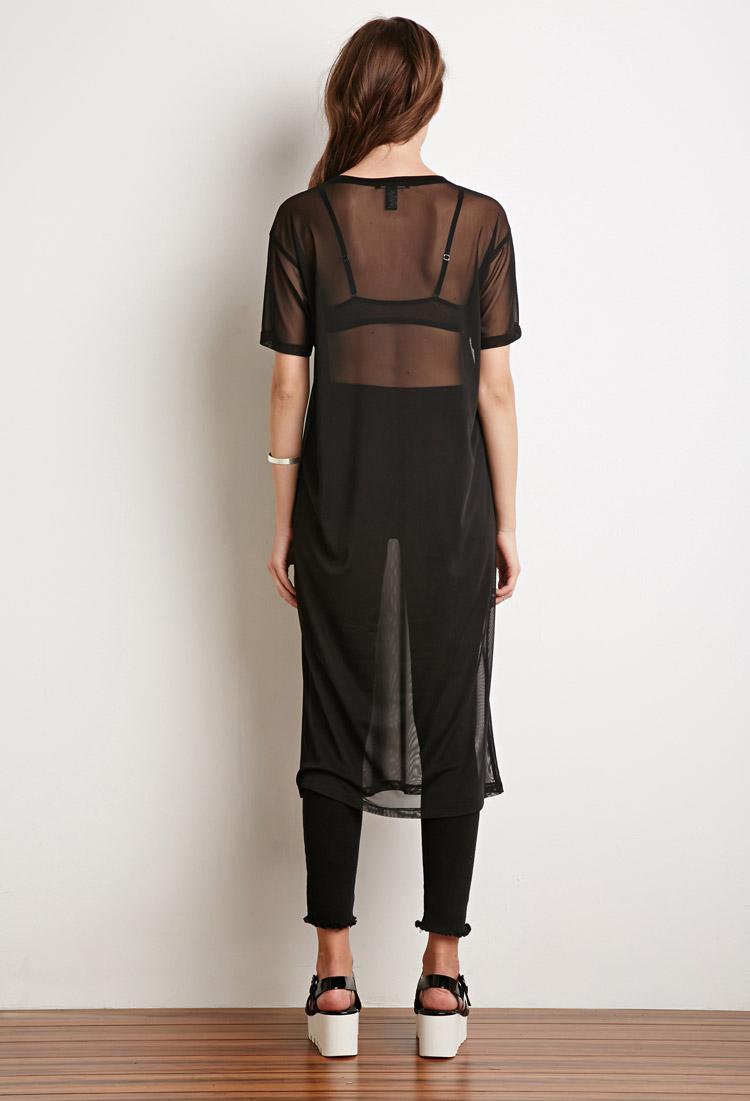 Forever 21 mesh midi t shirt dress in black lyst for Midi shirt dress black