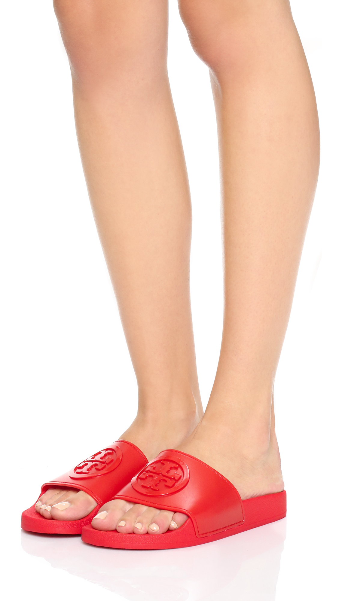 184755527105 Lyst - Tory Burch Jelly Flat Slides in Red