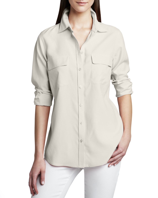 Go silk safari long sleeve silk shirt in beige ivory lyst for Silk long sleeve shirt
