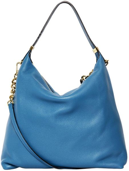 ... Michael Kors Weston Grained Leather Hobo Bag in Blue (turquoise